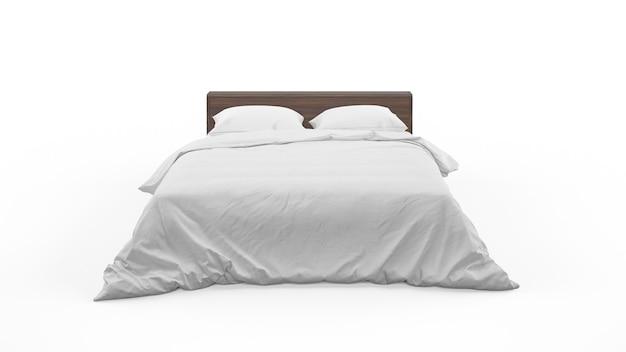 Cama de casal com roupa de cama branca isolada