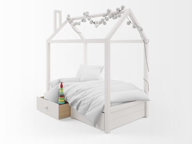 Cama de criança fofa realista com forma de casa