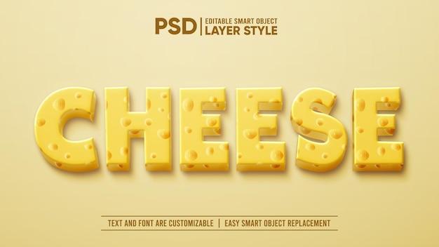 Camada de queijo leite em 3d com camadas editáveis de estilo de camada inteligente efeito de texto