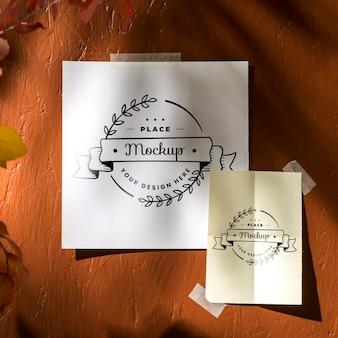 Camada plana da bela maquete de moodboard de outono