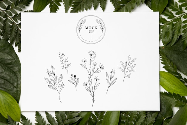Camada plana da maquete da moldura com folhas