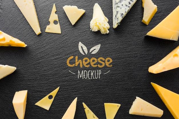 Camada plana de variedade de queijos cultivados localmente