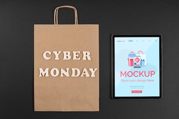 Camada plana do mock-up do conceito de cyber segunda-feira