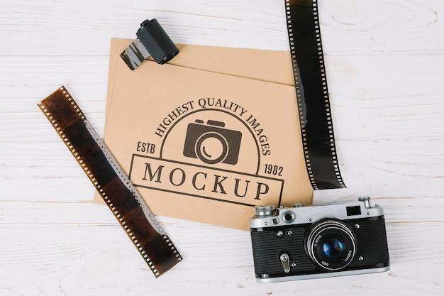 Câmera fotográfica de visão superior com filme