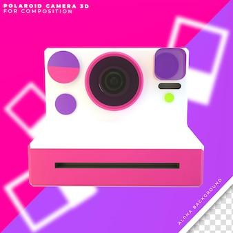 Câmera polaroid com fotos 3d Psd Premium
