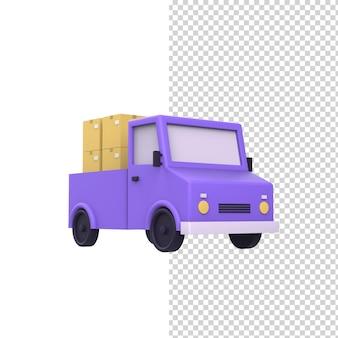 Caminhão de entrega de compras rápidas com caixas de correio de papelão ícone do modelo de renderização 3d