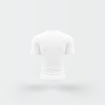 Camiseta branca flutuando no branco