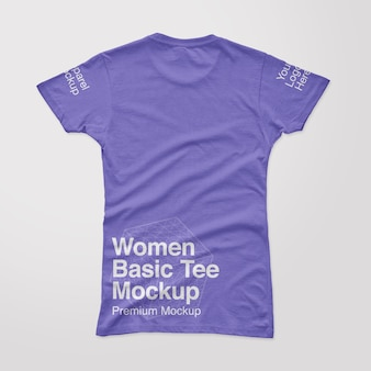 Camiseta feminina básica traseira maquete