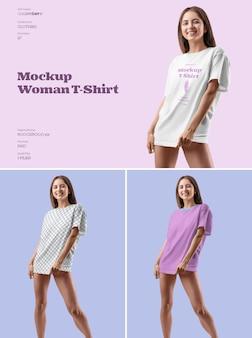 Camiseta feminina de maquete com design de tamanho grande