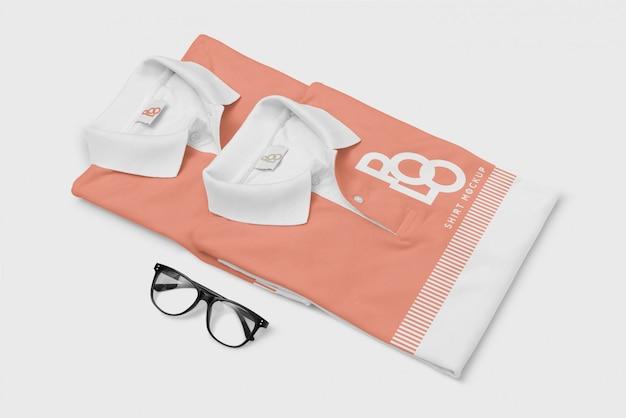 Camiseta polo e maquete de óculos