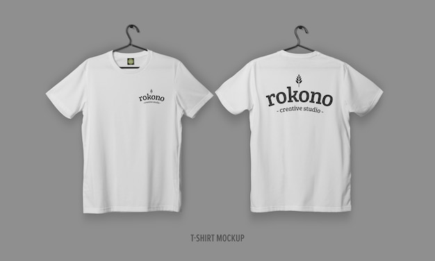 Camisetas realistas com maquete de rosto e costas
