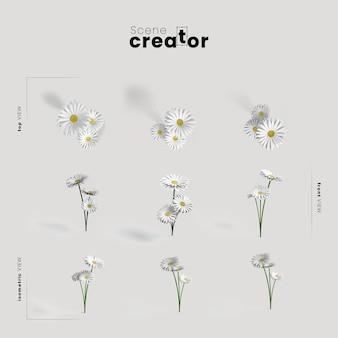 Campo de flores vista do criador de cena de primavera
