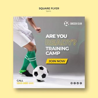 Campo de treinamento do clube de futebol panfleto quadrado
