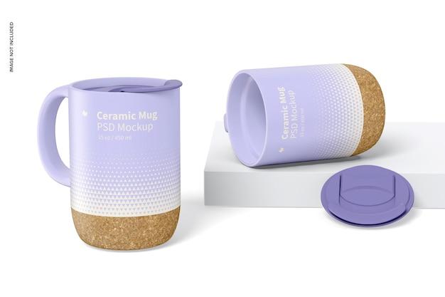 Caneca de cerâmica de 15 oz com tampa maquete