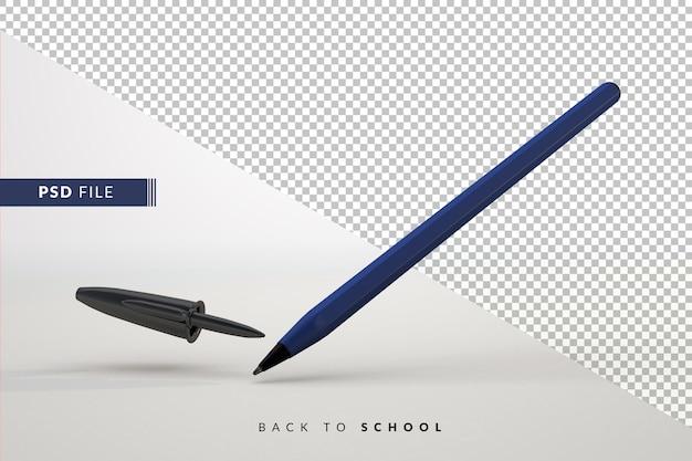 Caneta azul simples com fundo isolado para um conceito 3d de volta às aulas