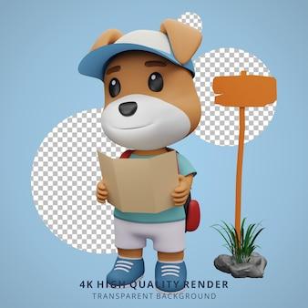 Cão bonito, mascote de acampamento, ilustração de personagem 3d, mapa aberto