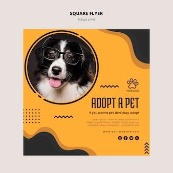 Cão com óculos de leitura quadrado flyer