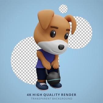 Cão fofo ginásio animal ilustração 3d personagem mascote