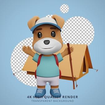 Cão fofo mascote de acampamento com ilustração de personagens 3d feliz