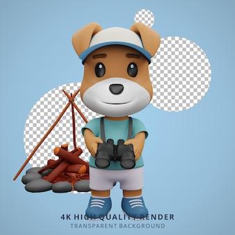 Cão fofo mascote de acampamento ilustração de personagens 3d segurando binóculos