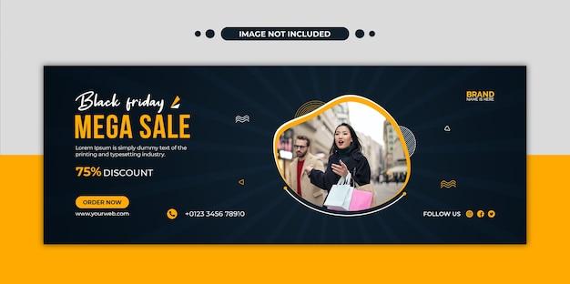 Capa da linha do tempo do facebook e modelo de banner da web em mega venda de black friday