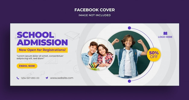 Capa da linha do tempo do facebook para admissão na escola e modelo da web