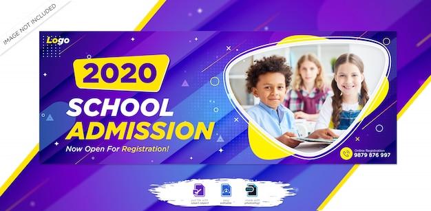 Capa de cronograma do facebook de admissão de educação escolar & modelo de banner da web