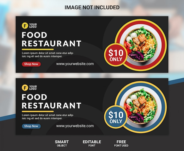 Capa de facebook de restaurante de comida ou modelo de banner
