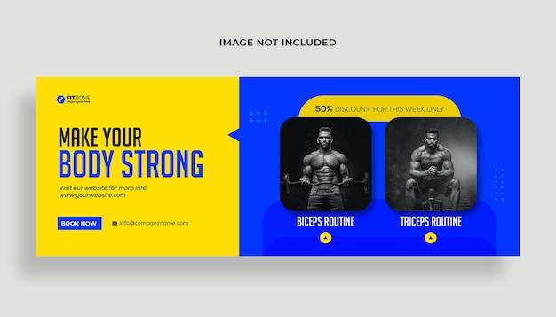 Capa de fitness do facebook e modelo de banner da web