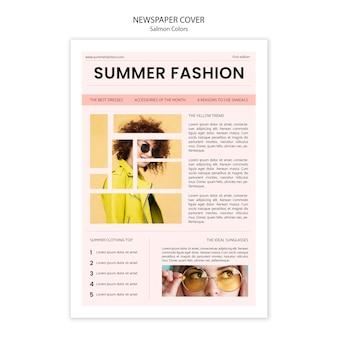 Capa de jornal de moda de verão