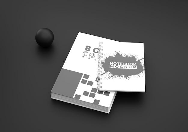 Capa de livro e maquete de caderno