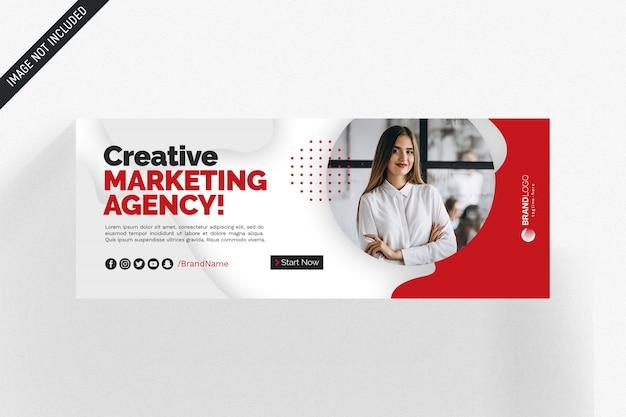 Capa de negócios de facebook branco e vermelho