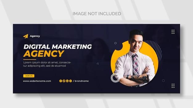 Capa de rede social de marketing digital e modelo de banner da web