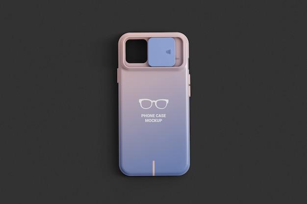 Capa de telefone com maquete de vista superior de proteção de câmera