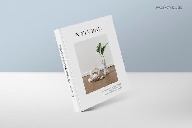 Capa de uma revista de livro maquete em pé