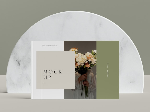 Capa de vista frontal com mock-up revista editorial de flores