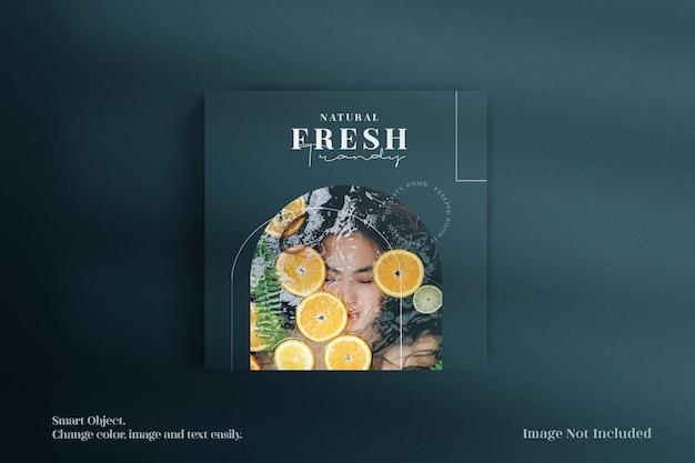 Capa de vista superior de luxo minimalista e criativa da maquete de catálogo de revista ou brochura
