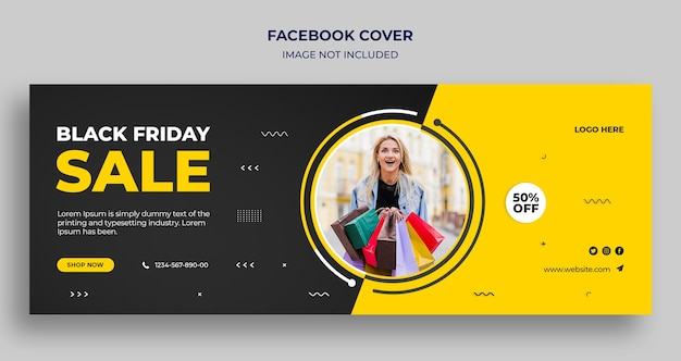 Capa do cronograma do facebook e modelo de banner da web da black friday