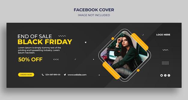 Capa do cronograma do facebook e modelo de banner da web da black friday
