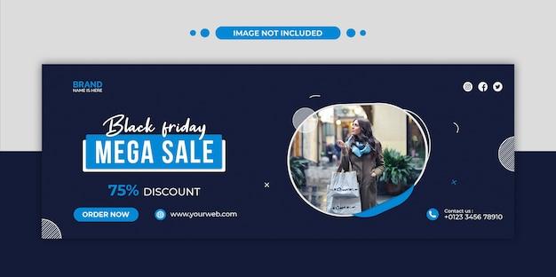 Capa do cronograma do facebook e modelo de banner da web da mega venda da black friday
