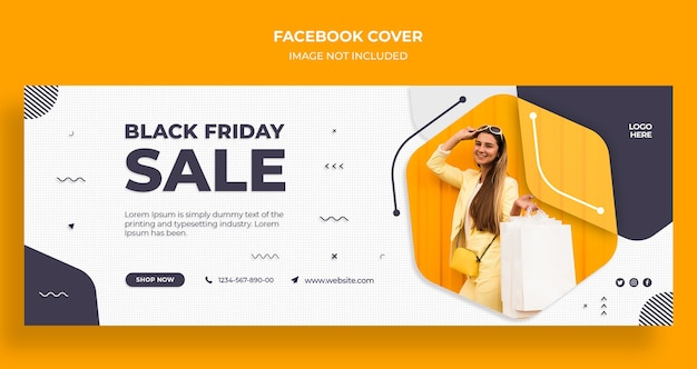 Capa do cronograma do facebook e modelo de banner da web de venda da black friday
