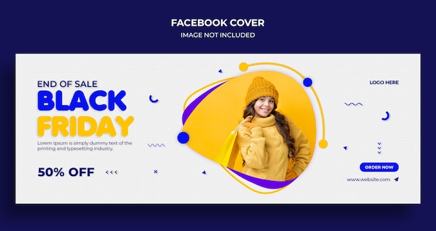 Capa do cronograma do facebook e modelo de banner da web de venda da black friday