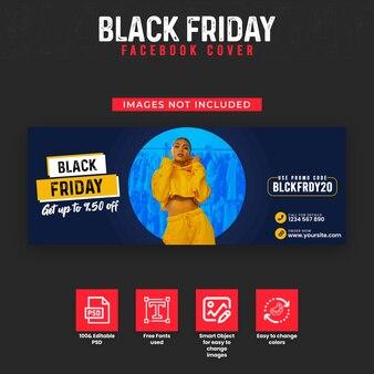 Capa do cronograma do facebook e modelo de banner da web para venda na sexta feira