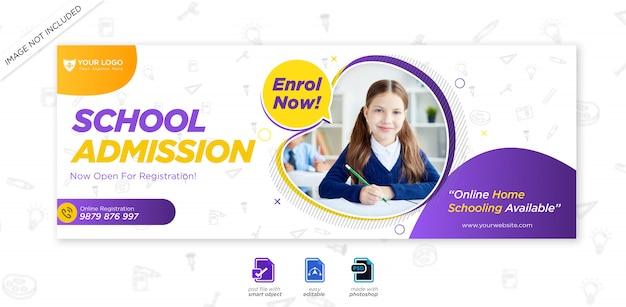 Capa do cronograma do facebook para admissão na escola escolar e modelo da web