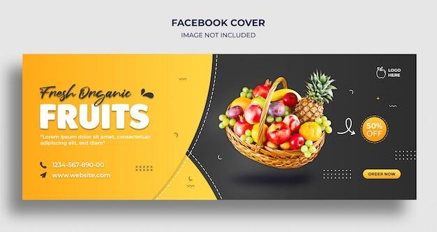 Capa do cronograma e modelo de banner da web de frutas orgânicas frescas no facebook