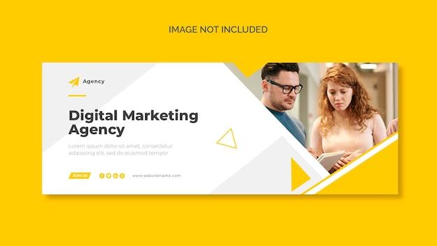 Capa do facebook de marketing digital e modelo de banner da web