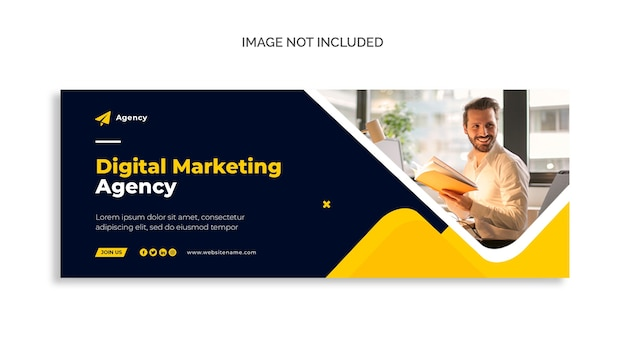 Capa do facebook de marketing digital e modelo de banner da web