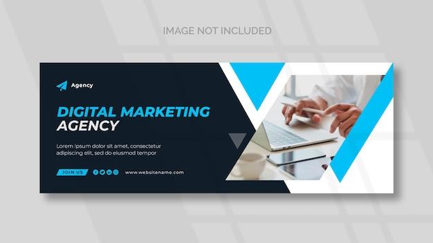 Capa do facebook de marketing digital e modelo de banner panorâmico