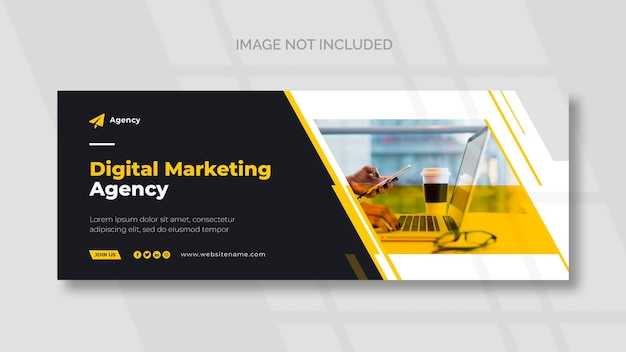 Capa do facebook de marketing digital e modelo de banner panorâmico