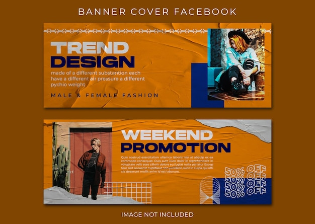 Capa do facebook de venda de moda e modelo de banner da web